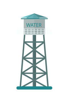 Agriculture water tower icon. Rural industrial farm equipment isolated vector illustration in flat design.