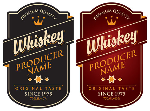Vector set of two labels for whiskey in the curly frame with crown and inscription on dark background in retro style