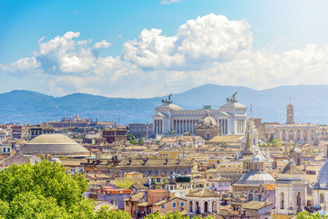 Printed kitchen splashbacks Rome Panoramic view of rome with the Capitoline hill, Vittoriano and Pantheon Dome