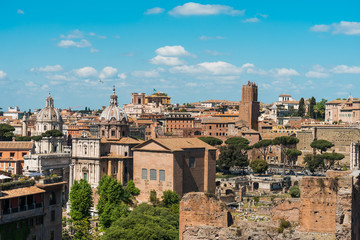Rooftop view of the historic buildings of Rome