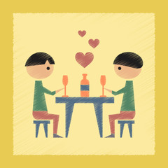 flat shading style icon romantic dinner gay