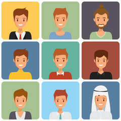 Cute illustrations of man with various hair style and different clothes. Illustration vector of avatar man.