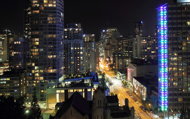 Vancouver bij nacht, vanaf de Lookout Tower