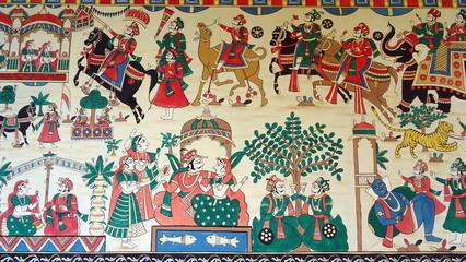 Pintura en una pared. Cerca de Ranakpur. Rajastán , norte de la India