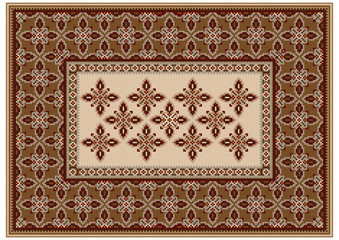 Luxury carpet with ethnic oriental ornament in brown and beige shades in the middle