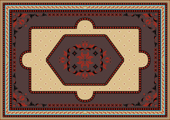 Luxury carpet with ethnic oriental ornament in brown,red and yellow shades