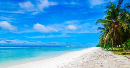 Panorama view of beautiful tropical beach with turquoise sea and blue sky