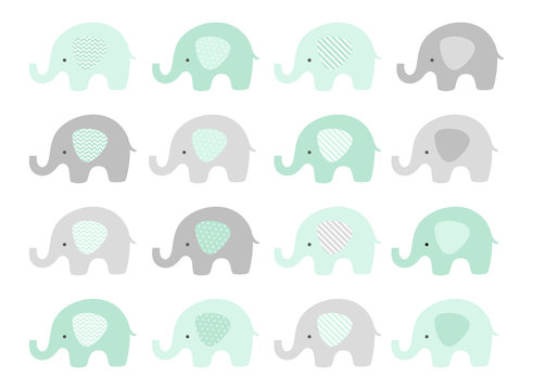 Cute elephant vector set in shades of mint and gray. Baby boy.