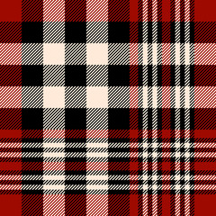 Seamless tartan plaid pattern. Checkered fabric texture print in stripes of dark red, black and beige.