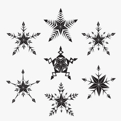 Hand-drawn doodles natural snowflake. Vector illustration. Good idea for greeting cards, invitations, prints, textiles, tattoo.