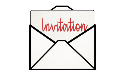 invite Letter coming out of envelope with invitation on it