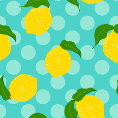Seamless  floral pattern with lemon fruit on a polka dot  background. .