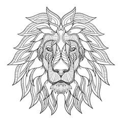 Lion head zentangle, doodle stylized, vector, illustration, hand drawn, pattern. Zen art. Black and white illustration on white background. Line art.