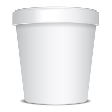 Plastic or Paper Bucket Food Tub Container For Ice Cream, Dessert, Yogurt, Sour Cream Or Snacks. Vector Mock Up Template