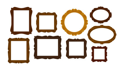 Collection of vintage wooden picture frames. Mirror, portrait icon or symbol. Vector illustration