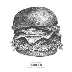 Hand drawn burger with ink and pen. Vintage black and white illustration. Fast food vector element.
