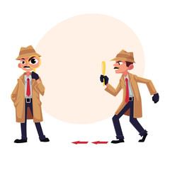 Detective character following, tiptoeing after somebody with magnifying glass, cartoon vector illustration with space for text. Full length portrait of funny detective character at work