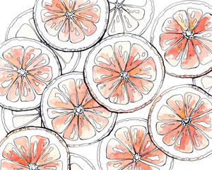Watercolor pattern with cut grapefruit.