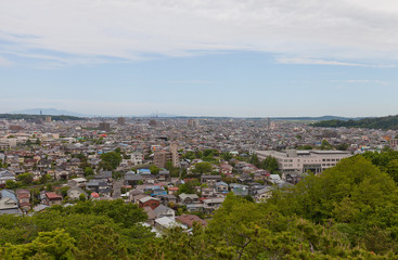 View of Akita city from Kubota Castle, Japan