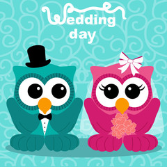 Wedding card with the bride and groom.