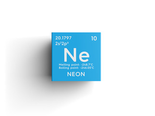 Neon. Noble gases. Chemical Element of Mendeleev's Periodic Table. Neon in square cube creative concept.