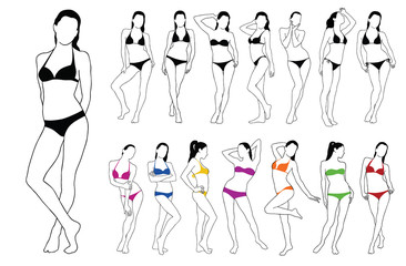 Silhouettes of beautiful girls standing in colored bikini dress.