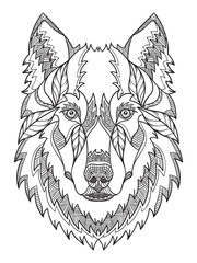Gray wolf head zentangle stylized, vector, illustration, freehand pencil, hand drawn, pattern. Zen art. Ornate vector. Black and white illustration on white background.