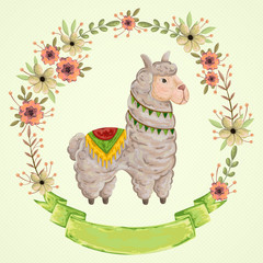 Lama animal with floral wreath in watercolor style. Cartoon character. Concept design for greeting card, poster, invitation, party. Vintage vector illustration.