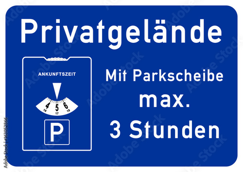 spr59 SignParkRaum - Privatgelände - Parken mit Parkscheibe maximal ...