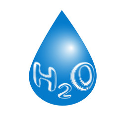 H2O Water drop icon. Vector concept illustration for design.