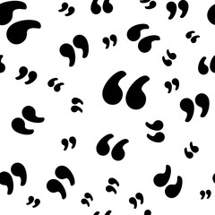 Quotation marks symbol seamless pattern, isolated on white background. Vector illustration, easy to edit.