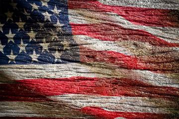 U.S.A. flag on wood