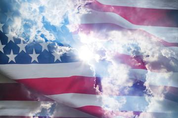 U.S.A. flag and light of God