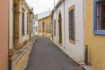 The old narrow street in Nicosia, Cyprus