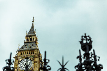 High section of Big Ben tower seen from a different angle