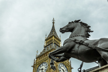 View of the horse (part of statue by Thomas Thornycroft) near Big Ben. London