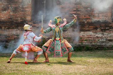 KHON Ramayana story of asia in ayutthaya,Thailand.
