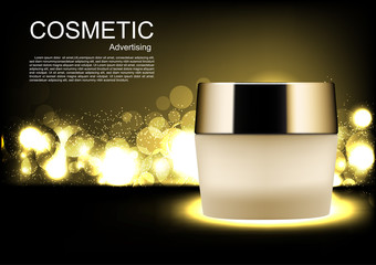 Vector cosmetic ads Night cream with gold bubble lights on dark background