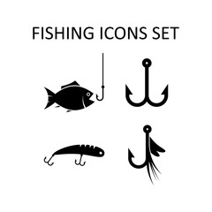 Fishing icons set. Silhouette vector signs