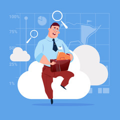 Business Man Sitting On Cloud Search Data In Database Storage Flat Vector Illustration