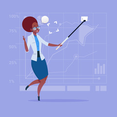 African American Business Woman Taking Selfie Photo With Stick On Cell Smart Phone Flat Design Vector Illustration