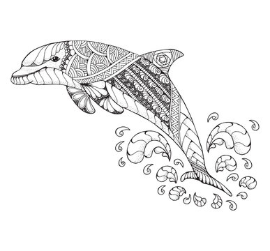 Bottlenose dolphin jumping high with splash. Zentangle and stippled stylized vector illustration. Black and white illustration on white background. Adult anti-stress coloring book. Pattern.