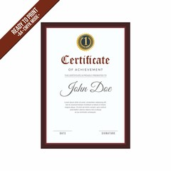 Elegant red maroon border Certificate decorated template shapes and golden lines vector