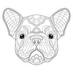 French bulldog puppy head zentangle stylized, vector, illustration, freehand pencil, pattern. Zen art. Black and white illustration on white background. Adult anti-stress coloring book.