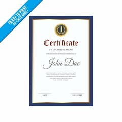 Elegant blue border Certificate decorated template shapes and golden lines vector