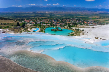 Photo sur Toile Turquie View of the calcareous minerals in Pamukkale