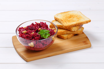 beetroot spread with toasted bread