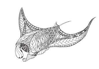 Zentangle stylized manta ray, mobula, devil fish. Vector, illustration, freehand pencil, pattern. Zen art. Black and white illustration on white background. Adult anti-stress coloring book.