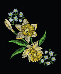 Embroidery stitches with yellow narcissus daffodil, chamomile in pastel color. Vector fashion ornament on black background for traditional floral decoration. Pattern for textile and fabrics.