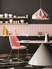 Mockup interior kitchen in pastel colors. 3D render, 3d illustration